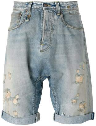 R 13 ripped denim shorts