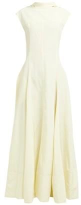 Jil Sander Gatsby Slit Hem Open Back Dress - Womens - Light Yellow
