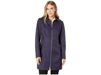 Via Spiga Hooded Fitted Raincoat with Faux Leather Waist Detail Women's Coat