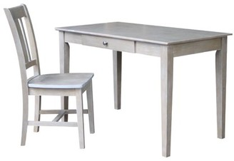 INC International Concepts Basic Size Desk with Chair Set in Washed Gray Taupe