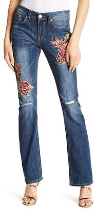 Grace In LA Denim Easy Boot Cut Embroidered Sequin Jeans