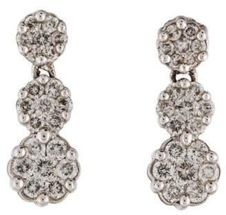 14K Diamond Cluster Drop Earrings