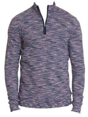 Robert Graham Men's Carney Striated Space Dye Quarter-Zip Pullover - Navy - Size Small