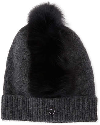 9c4018bb8a3 Charlotte Simone Cashmere Beanie Hat w  Fur Mohawk