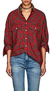 R 13 Women's Plaid Cotton Flannel Oversized Shirt - Red