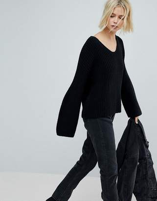 Weekday V Neck Ribbed Knit Jumper