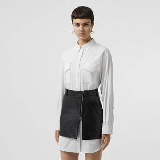 Burberry Topstitch Detail Cotton Poplin Shirt Dress
