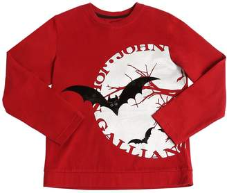 John Galliano Flocked Bats Cotton Jersey T-Shirt