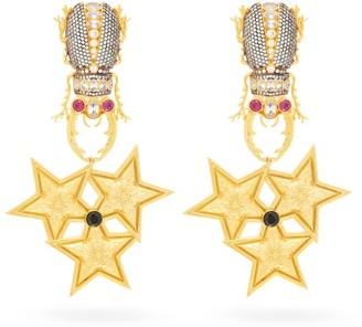 Begum Khan - King Beetle Harem Gold Plated Clip Earrings - Womens - Gold Multi