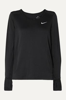 Nike Infinite Mesh-paneled Dri-fit Stretch-jacquard Top - Black