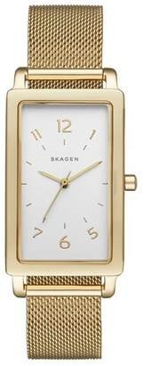 Women's Skagen 'Hagen' Rectangle Mesh Strap Watch, 22Mm X 43Mm $185 thestylecure.com