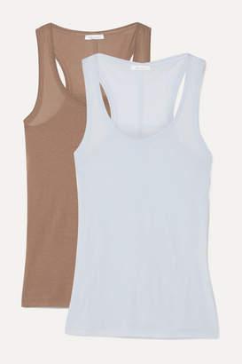 Skin - Set Of Two Organic Pima Cotton-jersey Tanks - Sky blue