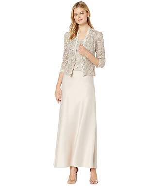 Alex Evenings Long A-Line Sequin Lace Mock Jacket Dress