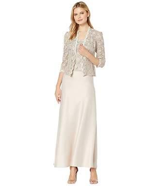 Alex Evenings Long A-Line Sequin Lace Mock Jacket Dress