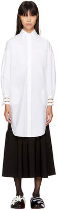 Fendi White Cotton Taffeta Shirt Dress