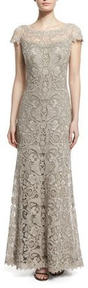 Tadashi Shoji Short-Sleeve Lace Column Gown, Pumice $550 thestylecure.com