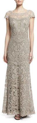 Tadashi Shoji Short-Sleeve Lace Column Gown $550 thestylecure.com
