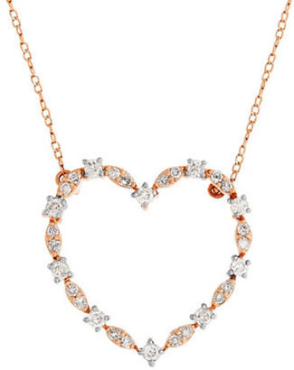 Lord & Taylor 0.75 TCW Diamonds and 14K Rose Gold Heart Pendant Necklace $925 thestylecure.com