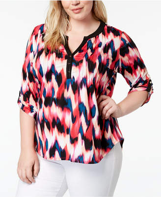 NY Collection Plus Size Printed Split-Neck Top