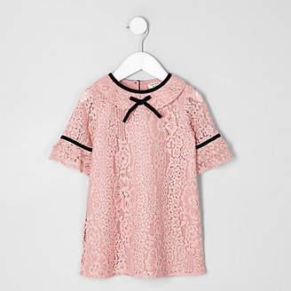 River Island Mini girls Pink lace shift dress