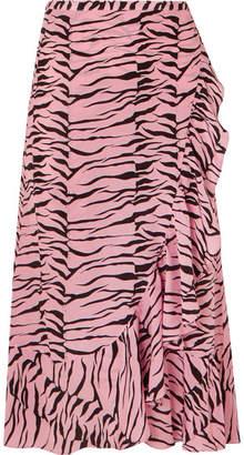 Rixo Gracie Ruffled Printed Silk Crepe De Chine Wrap Skirt