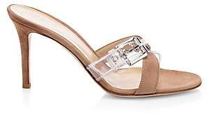 Gianvito Rossi Women's Suede & Clear Buckle-Strap Mules