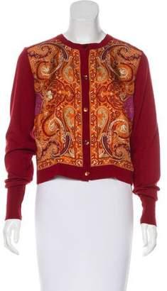 Etro Wool Silk-Paneled Cardigan