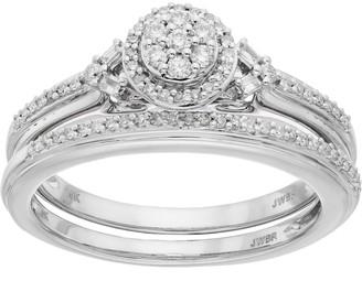 0901d1f36 Lovemark 10k White Gold 1/4 Carat T.W. Diamond Cluster Engagement Ring Set