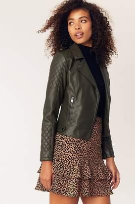 Oasis Womens Green Faux Leather Biker Jacket - Green