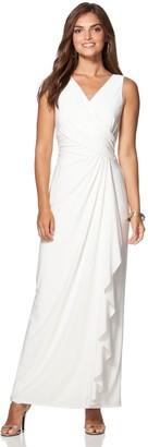 Chaps Women's Surplice Drape-Front Full-Length Dress