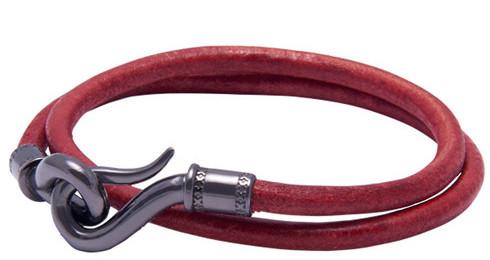 Nialaya Jewelry - Men'S Red Double-Wrap Leather Bracelet With Black Hook Lock