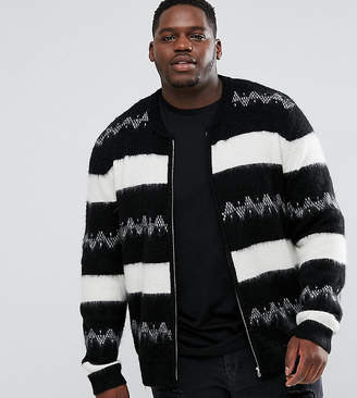 Asos Plus Mohair Wool Blend Bomber Jacket In Monochrome Stripe