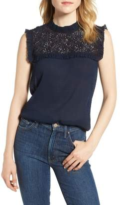 Chelsea28 Lace Yoke Crinkle Top