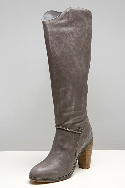 Diesel Go-Go Dark Gull Grey Leather Boots