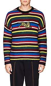 Kenzo Men's Tiger-Embroidered Striped Wool-Blend Sweater