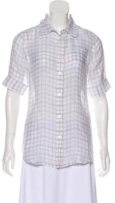 Elizabeth and James Plaid Print Button-Up Top