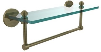 """South Beach Allied Brass Southbeach Collection 16"""" Glass Vanity Shelf with Integrated Towel Bar (Build to Order)"""
