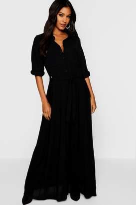 boohoo Woven Belted Maxi Shirt Dress