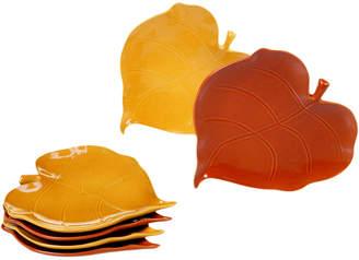 Certified International Set Of 6 3-D Leaf Appetizer Plates