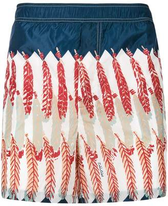 Valentino feather print swim shorts