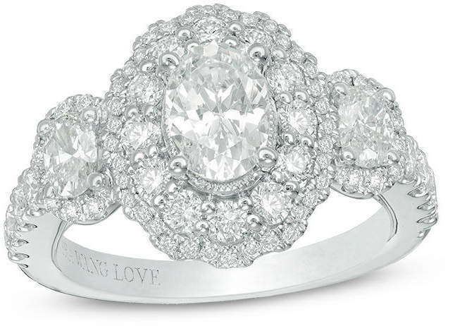 Zales Vera Wang Love Collection 2 CT. T.W. Oval Diamond Frame Three Stone Engagement Ring in 14K White Gold