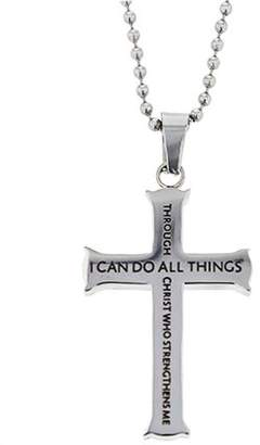 """Spirit & Truth Christian Mens Stainless Steel Christ Who Strengthens Me Phil. 4:13 Iron Cross Necklace - 24"""" Ball Chain"""