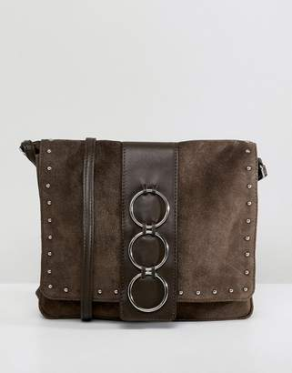 57d47701f0c71 Asos Design DESIGN leather and suede ring cross body bag