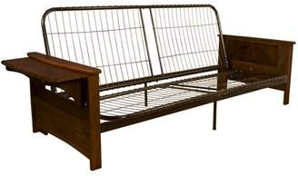 Comfort Style Bayview Attached End Table Style Frame Futon Sofa Sleeper Bed Frame, Full-size, Walnut Arms
