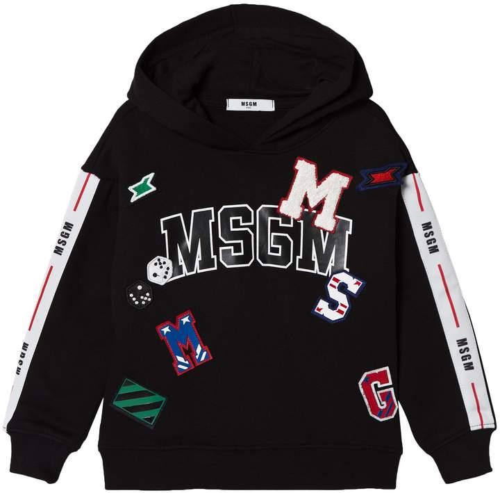 Msgm Black Logo Patch Hoody