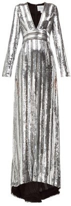 Galvan Stardust Sequinned Chiffon Gown - Womens - Silver
