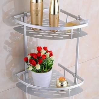 Bathroom Stainless Steel Corner Shelf, Estink Adjustable 2/3-Tier Triangular Shower Caddy Rack Holder(2-Tier)