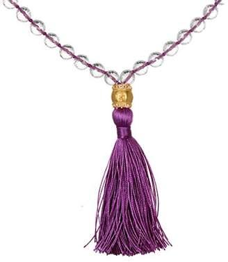 Satya Jewelry Women's Crystal and White Topaz Gold Om Tassel Mala Necklace 40-inch