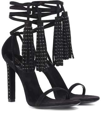 Saint Laurent Linn embellished suede sandals