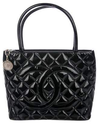 Chanel Patent Leather Medallion Tote Black Patent Leather Medallion Tote